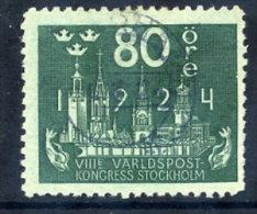 SWEDEN 1924 UPU Congress 80 öre  Used.  Michel 155 - Sweden