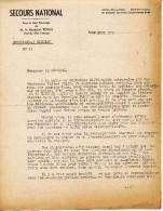 SECOURS NATIONAL SOUS LE HT PATRONAGE MAL PETAIN DIRECTIVES & RAPPEL DU SECRETARIAT  ROYAT 9 AOUT 1941 LISTE DES ORGANIS - Documenti Storici