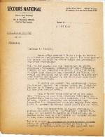 SECOURS NATIONAL SOUS LE HT PATRONAGE MAL PETAIN ROYAT 2 AOUT 1941 ADRESSE AU DELEGUE CIRCULAIRE AU SUJET VETEMENT ACCOR - Documenti Storici