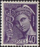 France Mercure N°  413 ** Le 40 Centimes Violet - 1938-42 Mercure