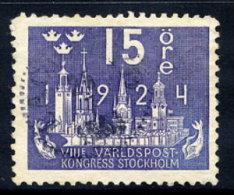 SWEDEN 1924 UPU Congress 15 öre  Used.  Michel 146 - Sweden
