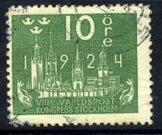 SWEDEN 1924 UPU Congress 10 öre  Used.  Michel 145W - Sweden