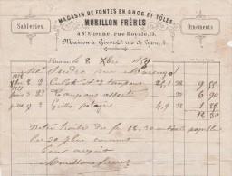 Facture 1858 MURILLON Frères Magasin De Fontes & Toles St ETIENNE Loire - Francia