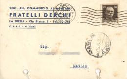 LA SPEZIA - CARTOLINA COMMERCIALE FRATELLI DERCHI ALIMENTARI - VG 1935 - La Spezia