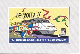 25628 -RENNES 35 France -le Voila  Paris 2h De Rennes TGV Atlantique -24 Septembre 89 1989 -sncf -tampon Timbre 2.5