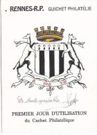 25629 -RENNES 35 France -1er Jour Utilisation Cachet Philatelique -guichet Roger Blond -timbre 2.80 1994 Hommage Maquis