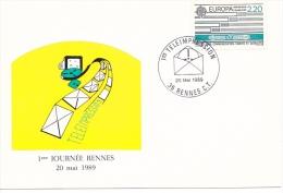 25631 -RENNES 35 France -teleimpression 1er Journée -20 Mai 1989 -timbre 2.20 Europa - Rennes