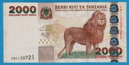 TANZANIA 2000 Shilingi ND (2009)  Serie CM   P# 37b   Mt. Kilimanjaro, Lion - Tanzanie