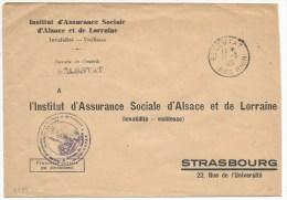 B989 - SELESTAT Mars 1945 - Période RESTRICTION Courrier - Entête Institut Assurance Sociale Pour Strasbourg - - Elsass-Lothringen