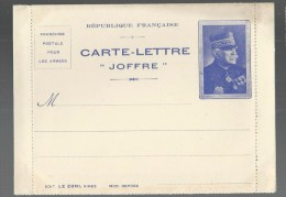 FRANCHISE MILITAIRE WW1 - CARTE LETTRE - JOFFRE  - VIERGE -TTB E - Tarjetas De Franquicia Militare