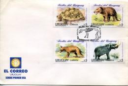 5922 Uruguay,  Fdc 1998  Prehistoric Animals,  Prehistory - Préhistoire