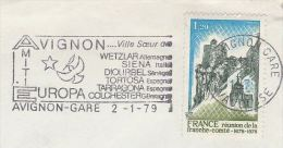 1979 FRANCE Stamps COVER SLOGAN Pmk Illus AVIGNON FRIENDSHIP With SIENA Italy DIOUBEL Senegal COLCHESTER Gb EUROPA - European Ideas