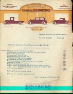 Factuur Facture - Carrosserie Charles Duquesne - Auto - Tourcoing 1934 - Transports