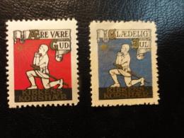 Lot 2 Vignette Poster Stamp Kirkens Korshær Church Religion Denmark - Autres