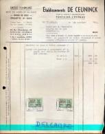Factuur Facture - Ets. De Ceuninck - Fontaine - L'Eveque 1956 - België
