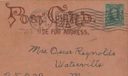 Carte Postale En Cuir  ( Envoyée En 1907 )à Waterville Dans Le Maine - Cartes Postales