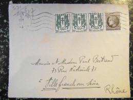 1945 Lettre (devant) Affranchissement à 2F10 Avec Chaine Brisée N° 671 En BANDE DE 3 + Mazelin 677 Omec Paris - Postmark Collection (Covers)