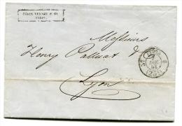 Lettre De Paris Pour Lyon Avec Cachet à Date De Taxe à 25c - 7 Dec 1853 - T 159 - 1801-1848: Voorlopers XIX