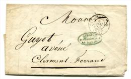 Lettre De Paris Pour Clermont-Ferrand Avec Cachet à Date De Taxe à 25c - 8 Mai 1852 - T 162 - 1801-1848: Voorlopers XIX