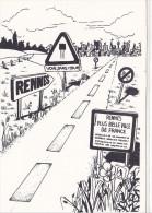 25645 -RENNES 35 France -capitale Meandres Circulation -commercants Centre Ville -1982 Voiture Dessin