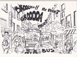 25646 -RENNES 35 France -capitale Meandres Circulation -commercants Centre Ville -1982 Voiture Dessin -bus Polution