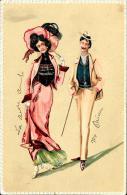 [DC2543] CPA - COPPIA ELEGNATE - IN RILIEVO - Viaggiata 1903 - Old Postcard - Coppie