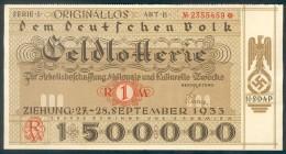 """Deutschland, Germany - """" Dem Deutschen Volk """", GELDLOTTERIE, FOTO & DOKUMENT Der NSDAP, 1933 ! - Lotterielose"""