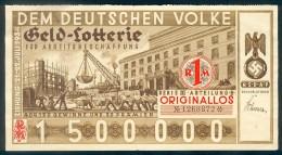 """Deutschland, Germany - """" DEM DEUTSCHEN VOLKE """", GELDLOTTERIE, FOTO & DOKUMENT Der NSDAP, 1934 ! - Lotterielose"""