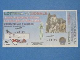 BIGLIETTO LOTTERIA 1996 ANTICHE REPUBBLICHE MARINARE PIAZZA DI SIENA CON TAGLIANDO FDS - Biglietti Della Lotteria