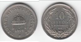 **** HONGRIE - HUNGARY - 10 FILLER 1908 KB **** EN ACHAT IMMEDIAT !!! - Hungary