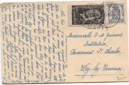 TP 527+Vignette Léopold III S/CP Oignies V.Mariembourg En 30/1/1946 V.Griffe Nismes V.Wez-lez-Tournai PR2694 - Postmark Collection