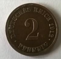 2  Pfennig 1912 G - TTB - - [ 2] 1871-1918 : German Empire