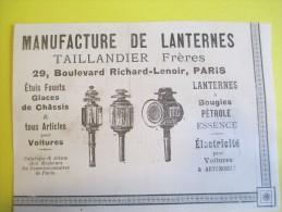 Manufacture Lanternes Pour Automobiles/Taillandier Fréres/ Bd Richard-Lenoir/Annuaire Exportation Lacarriére/1901  ILL75 - Cars