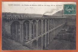 Carte Postale 22. Saint-Brieuc Le Viaduc De Souzin  Passagre D´un Train Rapide à Vapeur  Trés  Beau Plan - Saint-Brieuc