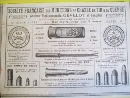 Chasse/Munitions/Société Française/Génelot/, Paris /Annuaire Exportation Lacarriére/1901  ILL76 - Sports & Tourisme