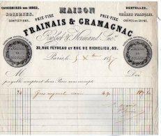 VP3231 - Facture - Maison FRAINAIS & GRAMAGNAC Fabrique De Dentelles à PARIS Rue Feydeau - France