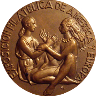 ESPAÑA. MEDALLA EXPOSICION FILATELICA AMÉRICA-EUROPA 1.980. ESPAGNE. SPAIN - Profesionales/De Sociedad