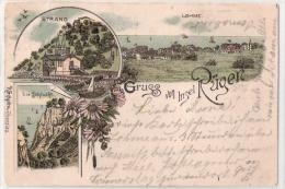 Rügen (D) Lohme, Schlucht, Strand, Litho, 1896   ***61675 - Rügen