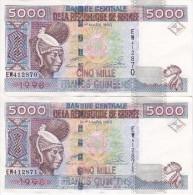 PAREJA CORRELATIVA DE LA REP. DE GUINEA DE 5000 FRANCOS DEL AÑO 1960 CALIDAD EBC (XF) (BANKNOTE) - Guinea
