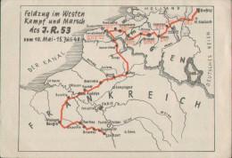 Regiments-Postkarte, Feldzug Im Westen Und Kampf Des Infanterie-Regiment 53, 1940, Militär, Drittes Reich - Guerra 1939-45