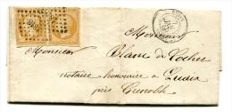 Lettre Avec Yvert 13 Type I En Paire - Paris Pour Grenoble - T 178 - Marcophilie (Lettres)