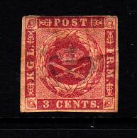 Danish West Indies MH Scott #1a 3c Coat Of Arms - Creased - Danemark (Antilles)