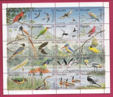 MALAWI, 1991, Mint  Lightly Hinged Stamps  In Full Sheet , Birds, 581-600, #4636 - Malawi (1964-...)
