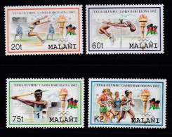 MALAWI, 1992, Mint  Lightly Hinged Stamps  , Olympic Games Barcelona, 601-604, #4630 - Malawi (1964-...)