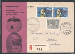 1er Vol Zurich-Genève-Tokyo Le 1er Avril 1957 - Posta Aerea
