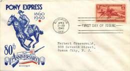 1940  Pony Express  JW Clifford Cachet Sc 894  Sacramento CA Cancel - First Day Covers (FDCs)