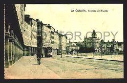 SPAIN GALICIA TARJETA POSTAL LA CORUÑA Ca1900 AVENIDA DEL PUERTO TRAM TRAMWAY W42107 - La Coruña