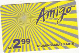 LATVIA - Amigo Prepaid Card Ls 2.99, Used - Latvia