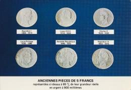 Lot De 2 CP Anciennes Pièces De 5 Francs Et, Le Franc - Coins (pictures)