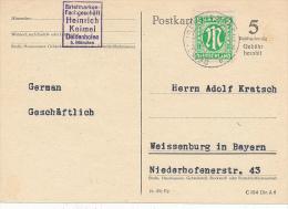 DEISENHOFEN  -  1945  -  Karte Nach Weissenburg - American/British Zone